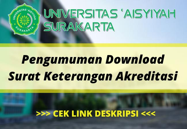 Pengumuman Download Surat Keterangan Akreditasi